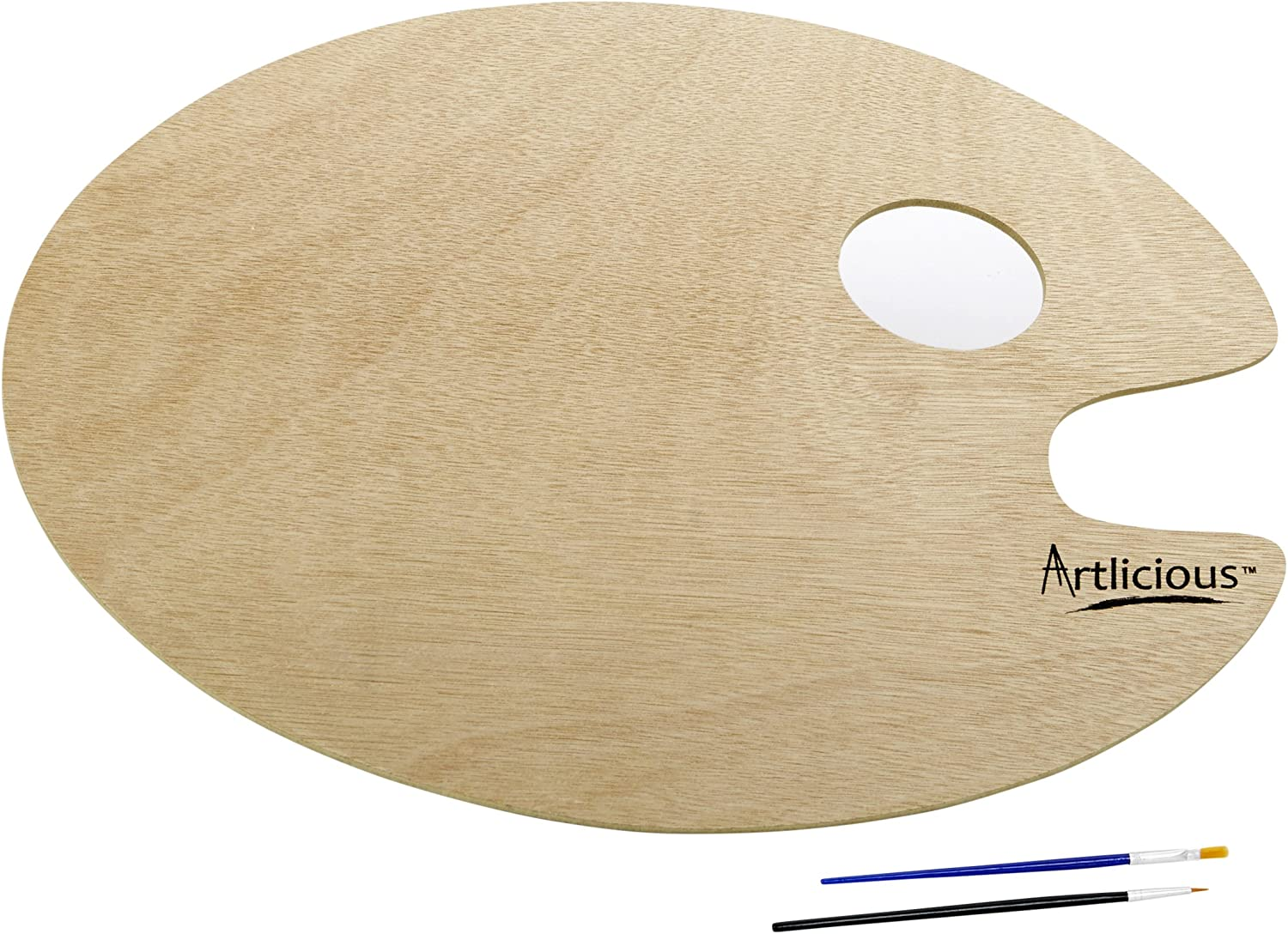Artlicious - Over-Sized Oval Shaped Wooden Palette 11.75 inch x 15.75 inch - Use with Acrylic, Watercolor, Oil Paints & Brushes