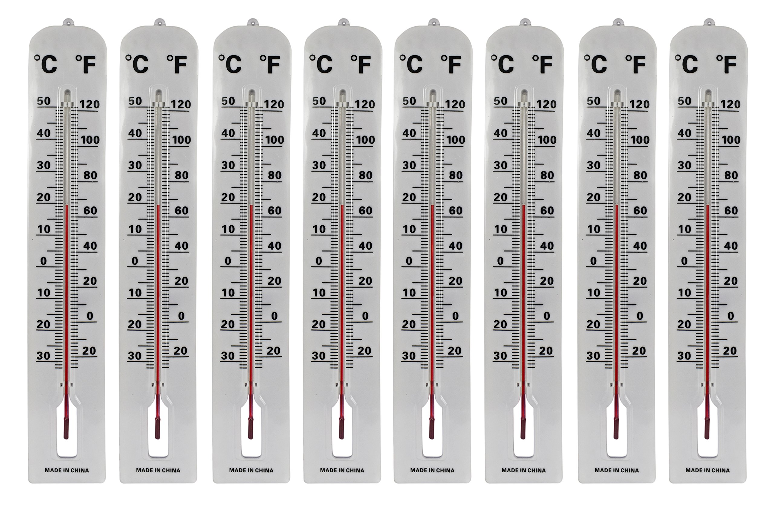 Set of 8 Jumbo Wall Indoor/Outdoor Thermometers! Includes Mounting Hardware! 16'' Thermometer Perfect for Indoor or Outdoor Use!