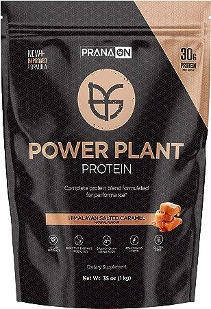 PranaON Plant Based Protein Powder — Great Tasting, Vegan, Power Plant Protein Supplement with BCAA & Probiotics — Non Dairy, Gluten Free, Keto Friendly, Non GMO (Himalayan Salted Caramel 35 Oz)
