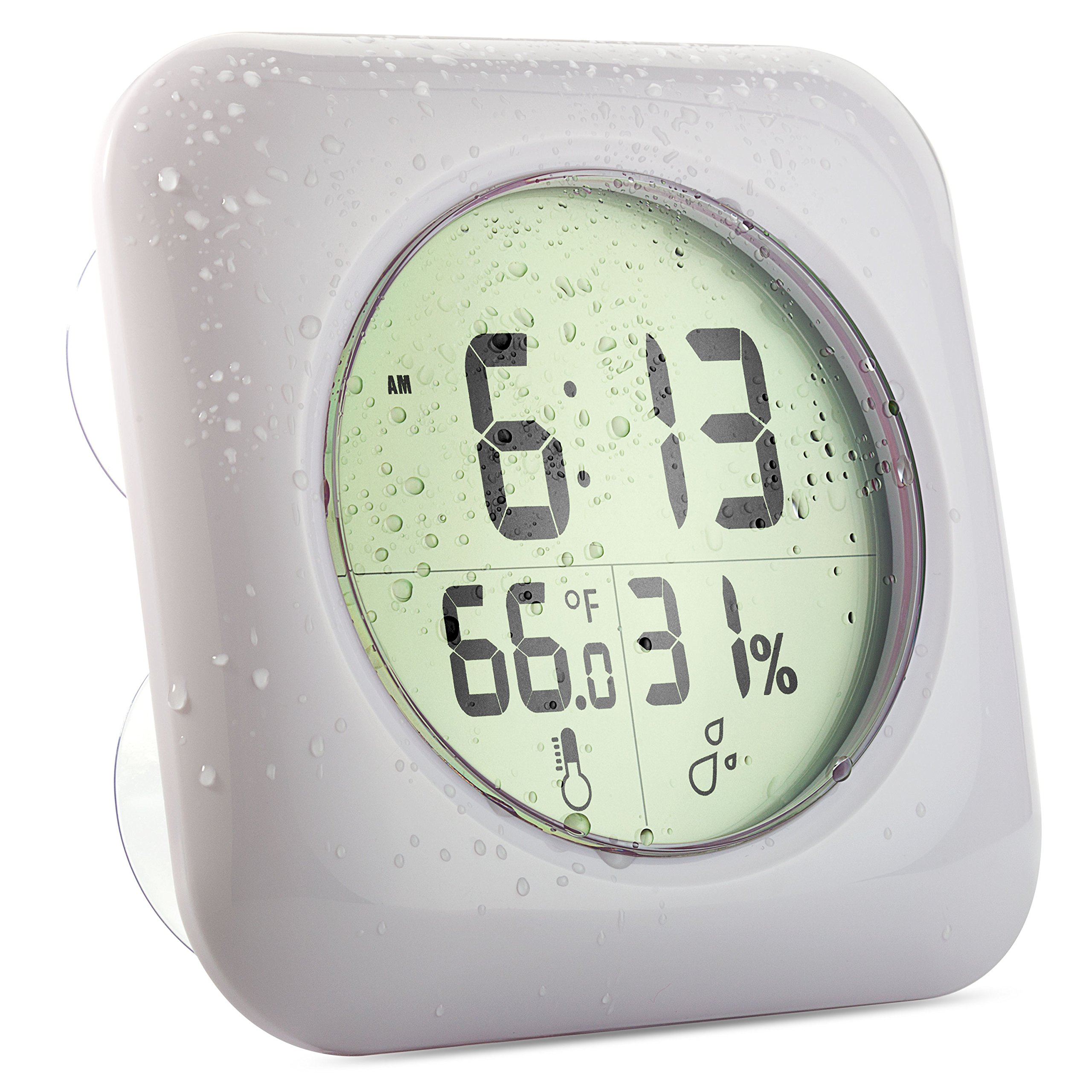 Cirbic Shower Clock Large with suction cups - water resistant bathroom clock displays time, temperature and humidity