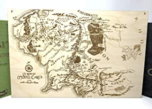 Geekilicious Art Wood Map of Middle Earth | Tolkien's Lord of The Rings & The Hobbit | Wall Sign (11x16)