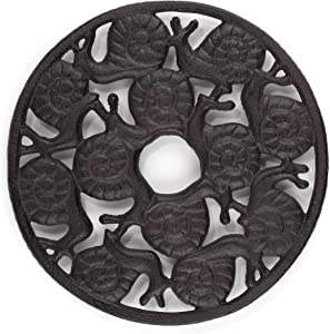gasaré, Cast Iron Trivet, Metal Trivet, Decorative Snail, for Hot Dishes, Pots, Kitchen, Countertop, Dining Table, with Rubber Feet Caps, Solid Cast Iron, 8 Inch Large, Rustic Brown Finish, 1 Unit