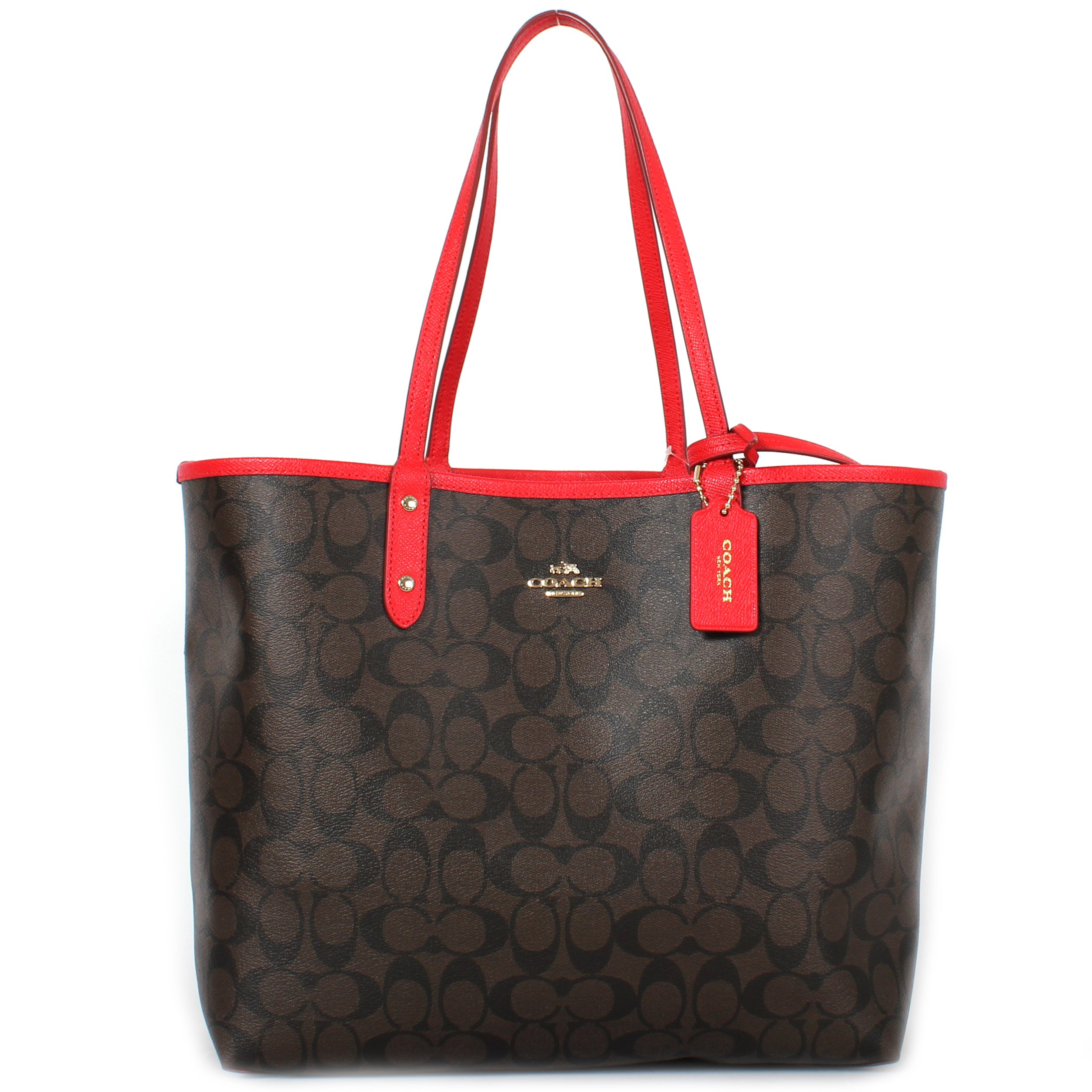 Coach Signature Reversible PVC City Large Tote Bag Handbag F36658 Brown/Bright Red by Coach
