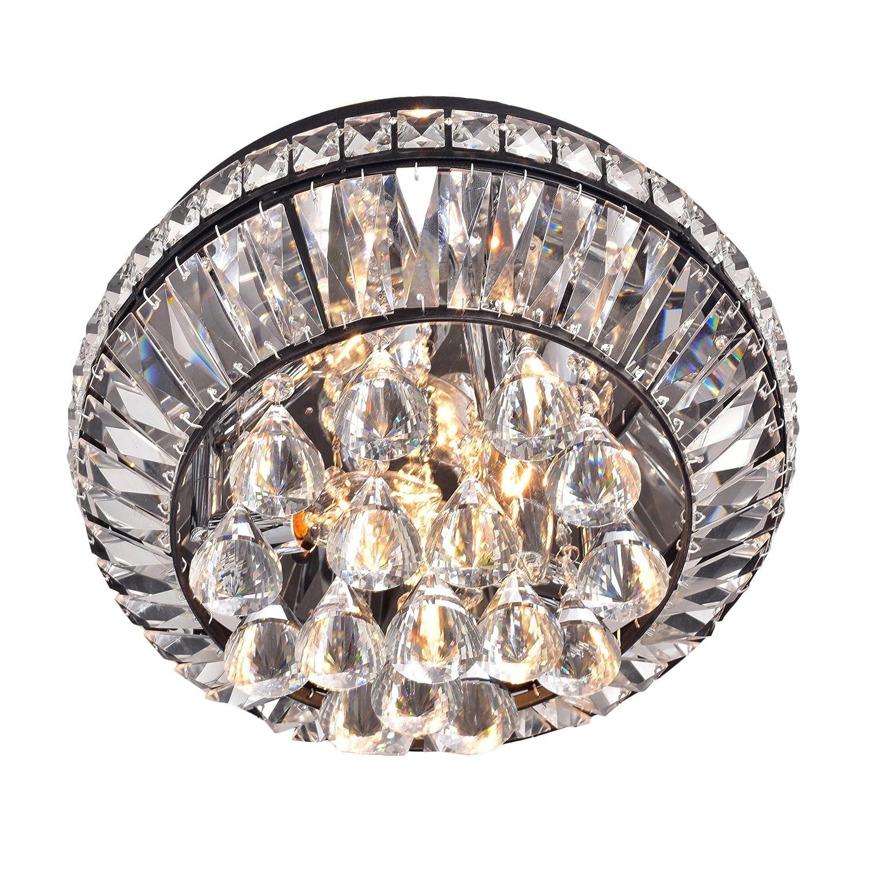 Jojospring Jolie Antique Black 3 Light Crystal Flush Mount Chandelier Com