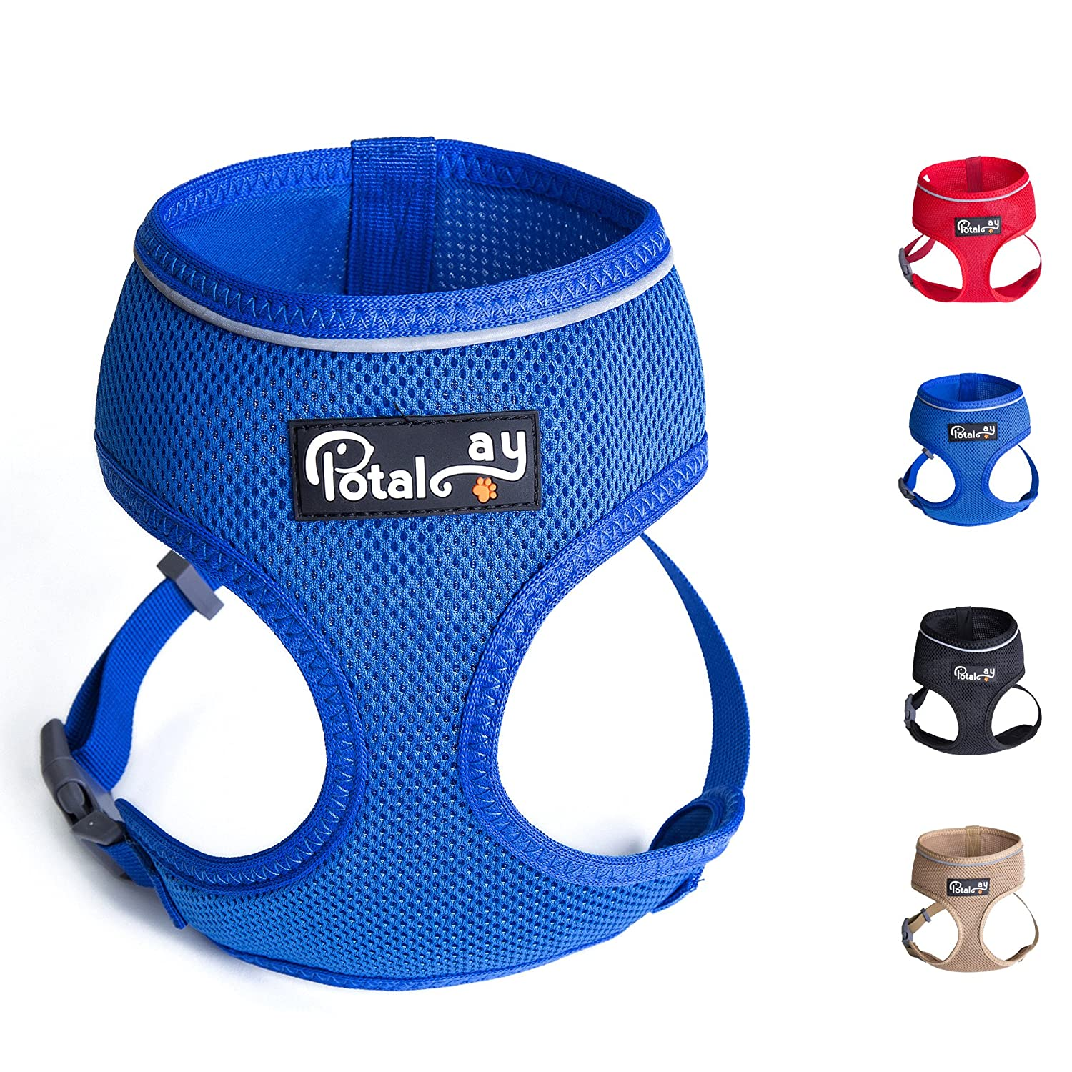 bluee XXL bluee XXL Potalay Control Dog Harness 4-48 lbs; No Pull & No Choke Design, Luxurious Padded Vest, Eco-Friendly, for Puppies and Dogs bluee XXL