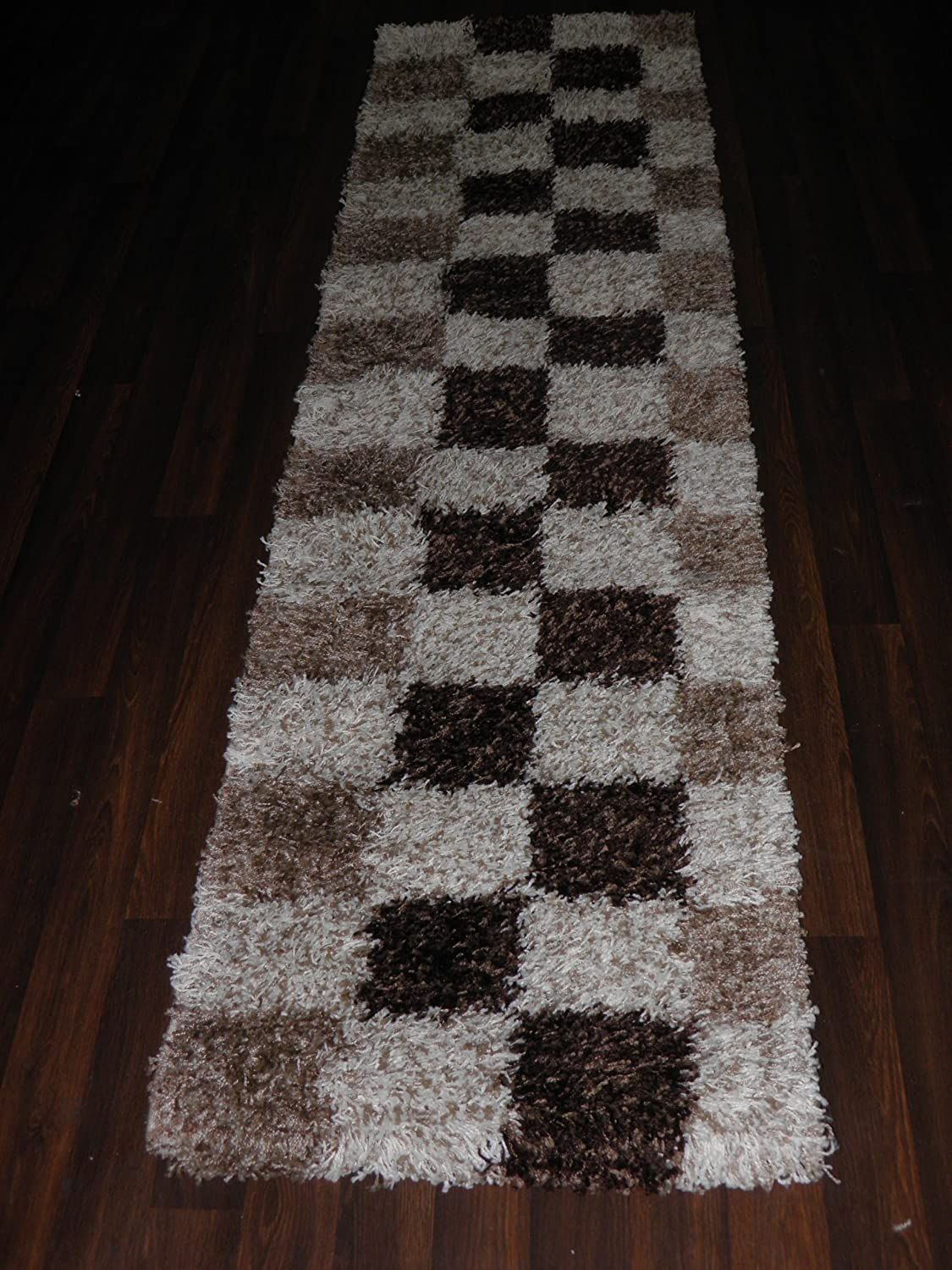 Beige Shaggy Hall Hallyway Carpet Runner Rug Thick Pile Anti Skid 60x220cm