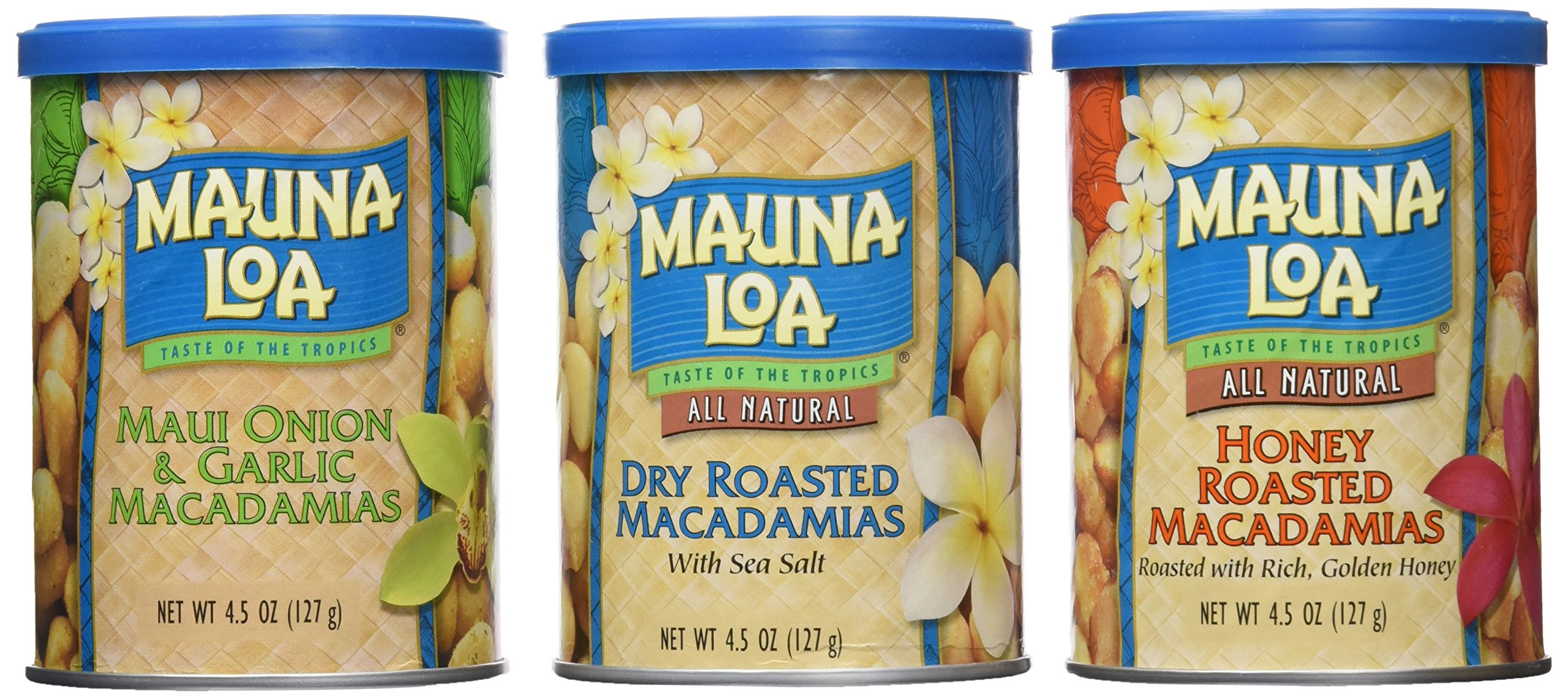 Mauna Loa: Island Classics Dry Roasted, Honey Roasted, Maui Onion & Garlic Macadamias, 13.5 Oz, 3 Pack