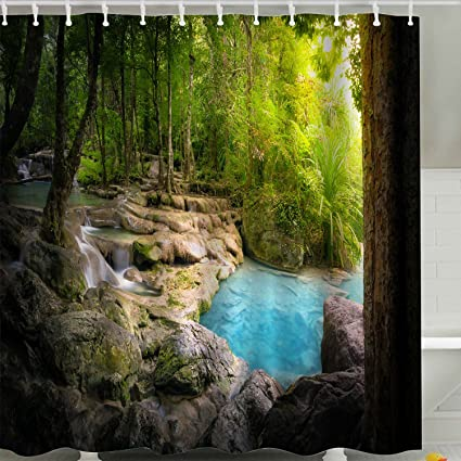 Spring Tree Shower Curtain FabricGreen Nature Scene Forest Jungle Rock Waterfall Bath 3D