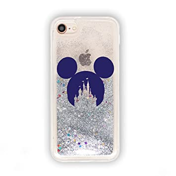 promo code d1efd e849a SmartGiftShop Cartoon Movie OUTLINE Liquid GLITTER Phone Cover Case for  iPhone Range Disney iPhone 7 Plus / 8 Plus/Silver Mickey
