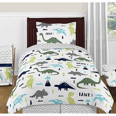 Navy Blue and Green Modern Dinosaur Boys or Girls 4 Piece Kids Teen Twin Bedding Set Collection: Home & Kitchen