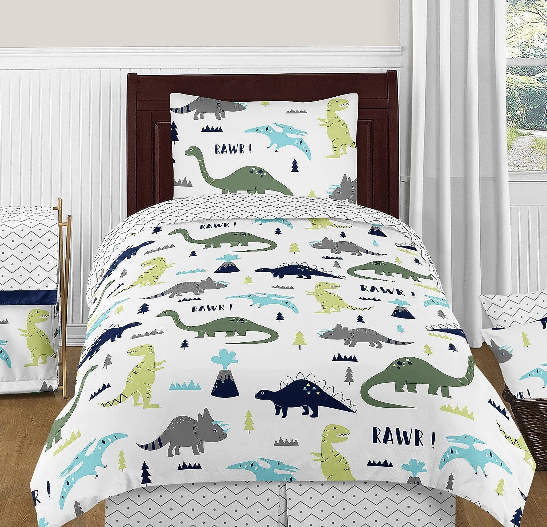 Amazon.com: Grey Chevron Prehistoric Print Twin Bed Skirt for Blue