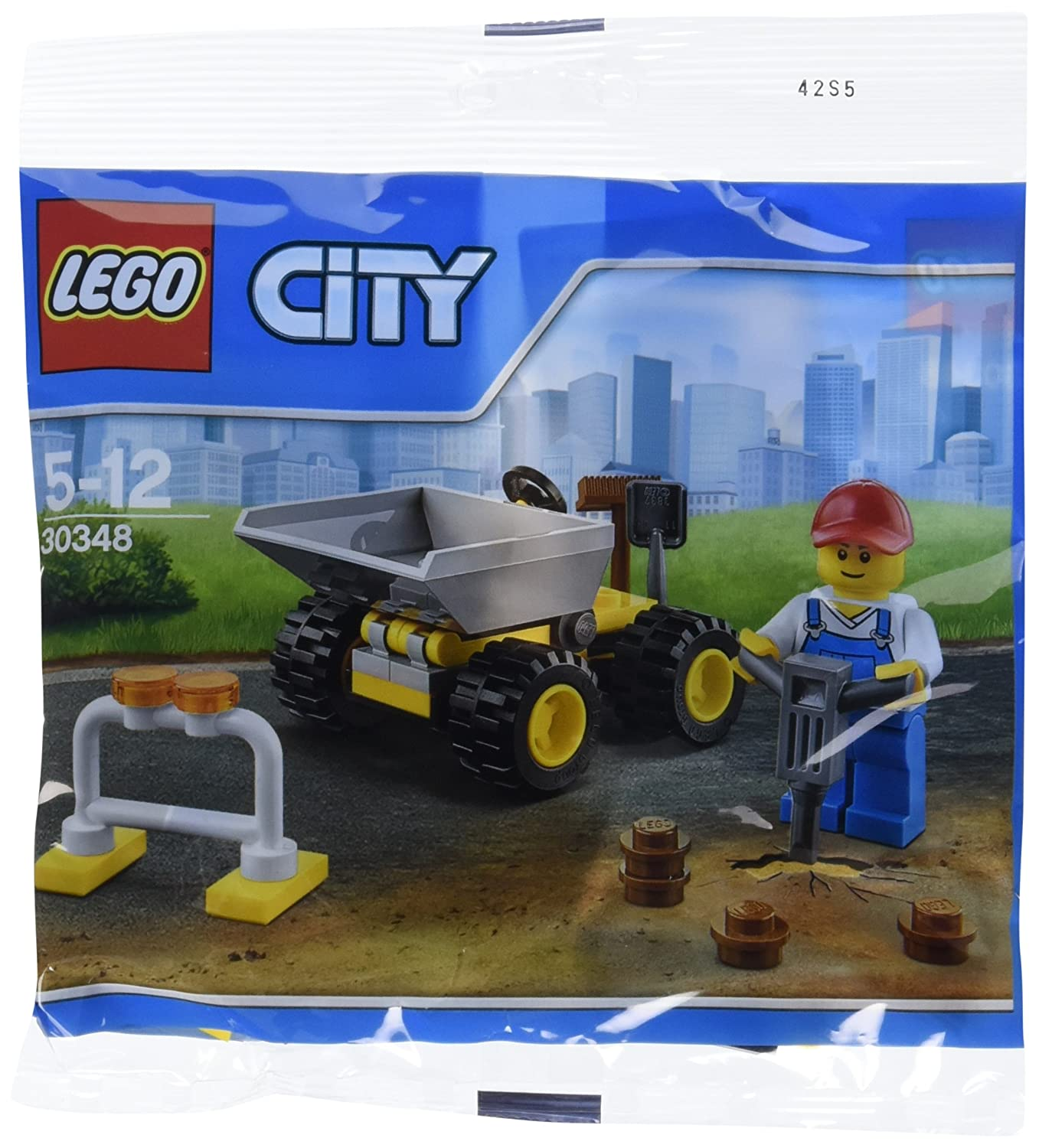 LEGO City Mini Dump Truck Vehicle and Construction Worker Minifigure Toy Set 30348 Bagged