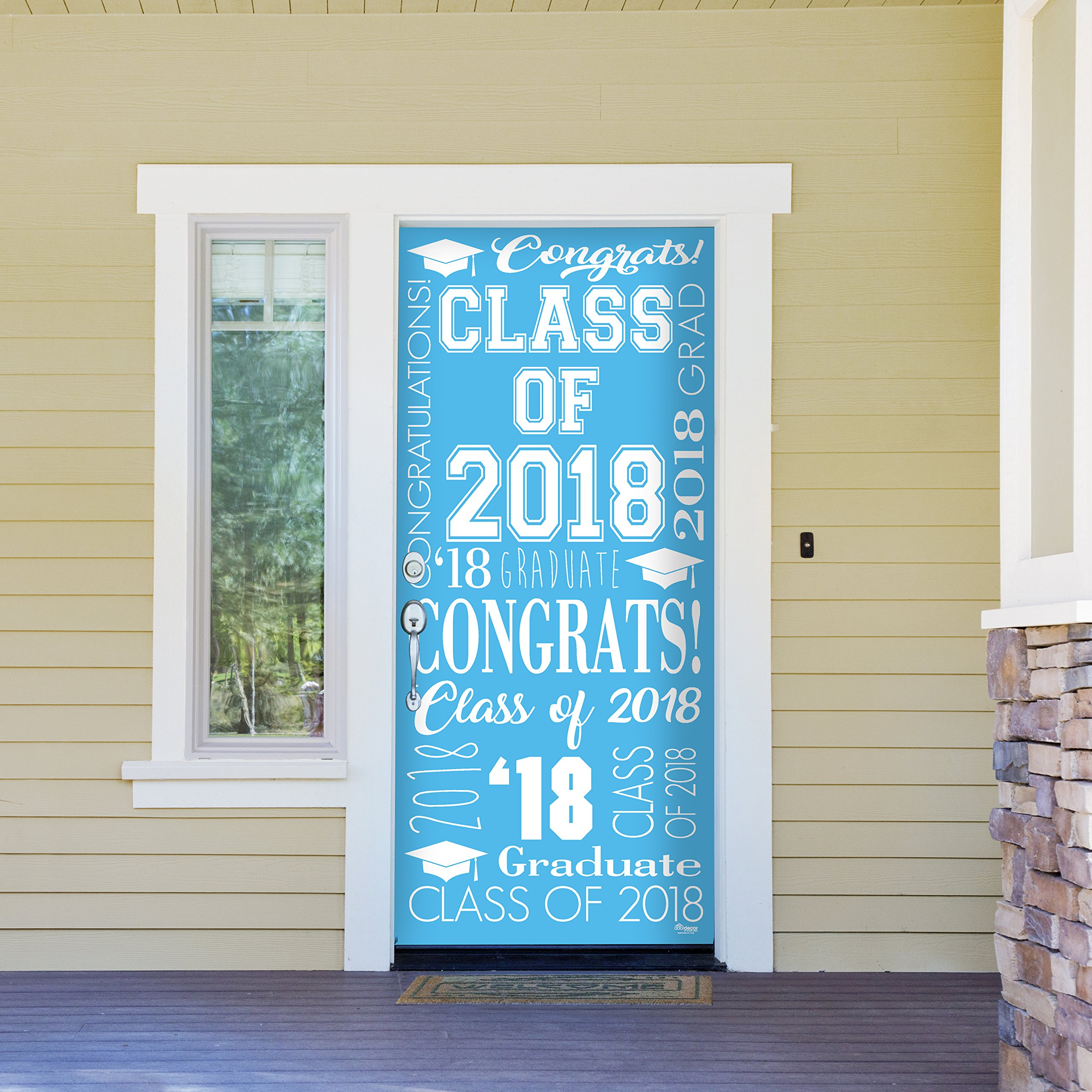 Victory Corps Collage Light Blue - Outdoor GRADUATION Garage Door Banner Mural Sign Décor 36'' x 80'' One Size Fits All Front Door Car Garage -The Original Holiday Front Door Banner Decor
