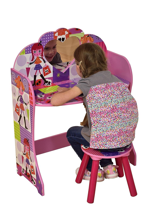 62.5x34x81.5 cm Liberty House Toys Fashion Girl Dressing Table /& Stool Set Wood Multi-Colour