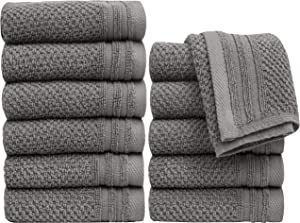 """Pleasant Home Washcloths Set - 12 Pack (12"""" x 12"""") – 488 GSM- 100% Ring Spun Cotton Wash Cloth - Super Soft and Highly Absorbent Face Towels (Grey, Popcorn Design)"""
