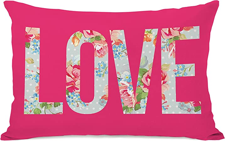 Amazon Com One Bella Casa Love Cabbage Rose Throw Pillow W Zipper By Obc 14 X 20 Hot Pink Home Kitchen