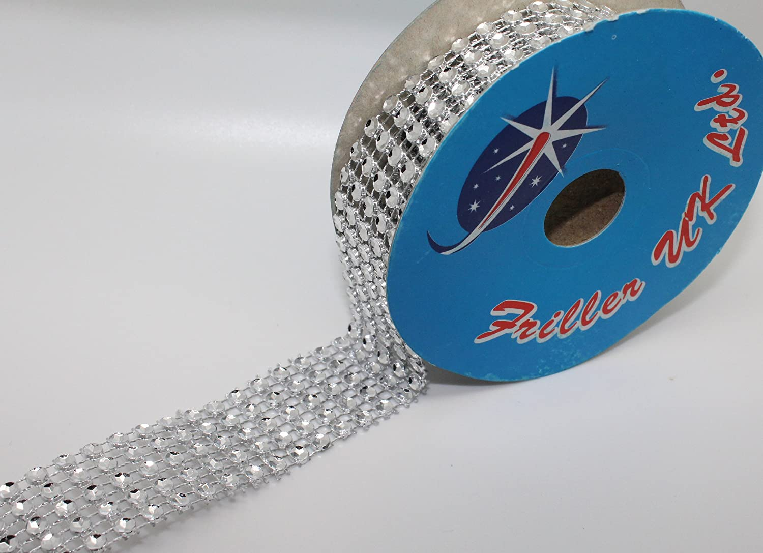Diamante Effect Silver Ribbon Trim For Cake Bridal Wedding Craft 5 Rows 25mm