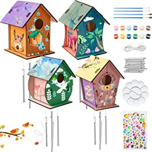 WATINC 4 Sets DIY Bird House Chime Kits for Kids Build and Paint Unfinished Wooden Art Birdhouses Preschool Classroom Painting Kits Activities Party Gifts Hanging Decorations for Window Outside