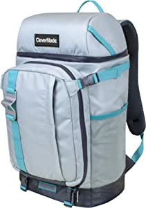 CleverMade Cardiff Backpack Cooler Bag - Insulated 24 Can Soft Leakproof Cooler with Bottle Opener, Dry Storage Compartments and Mesh Side Pockets, Grey