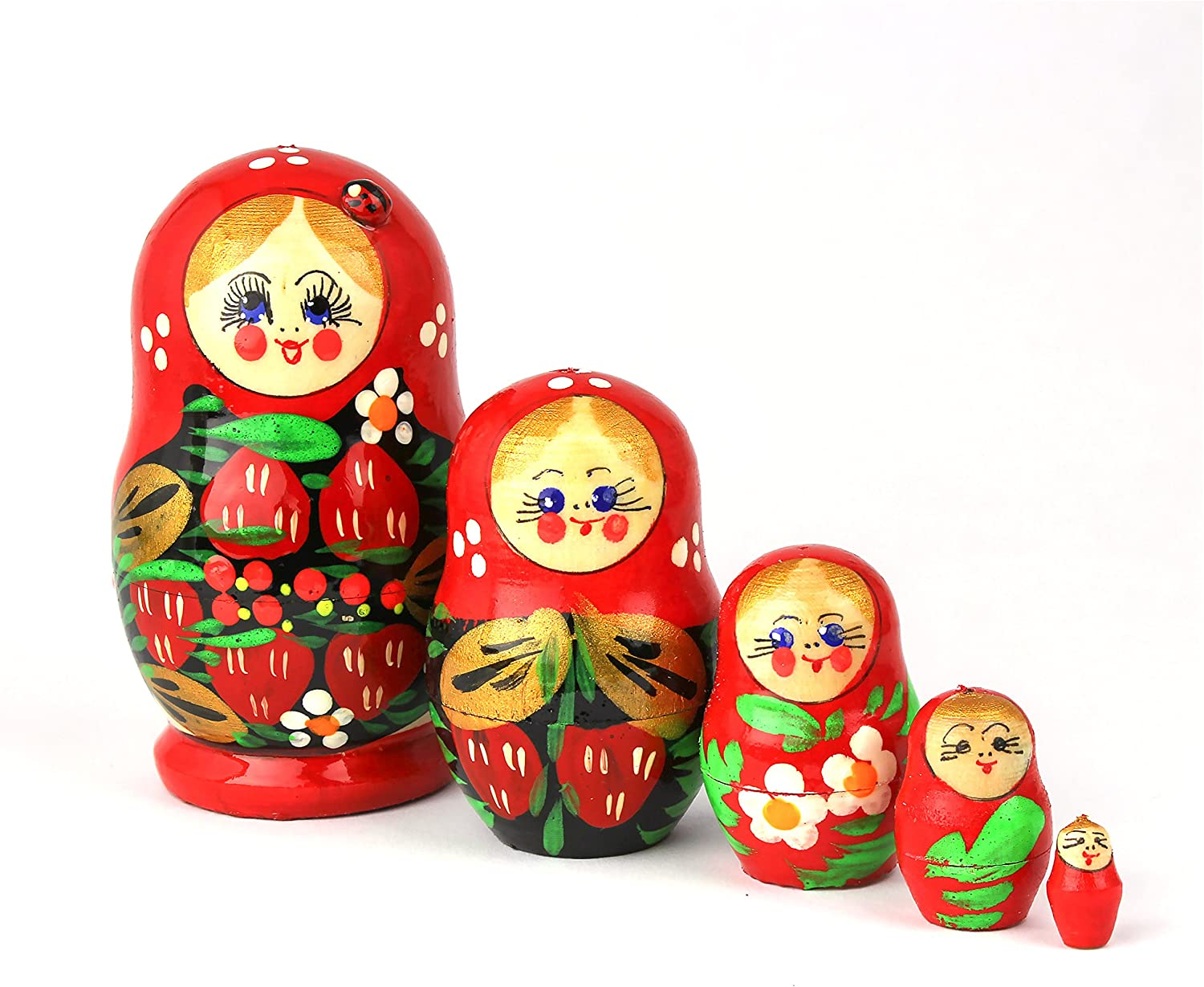 5pcs Handmade Skeleton Printed Babushka Russian Nesting Doll Matryoshka Toy