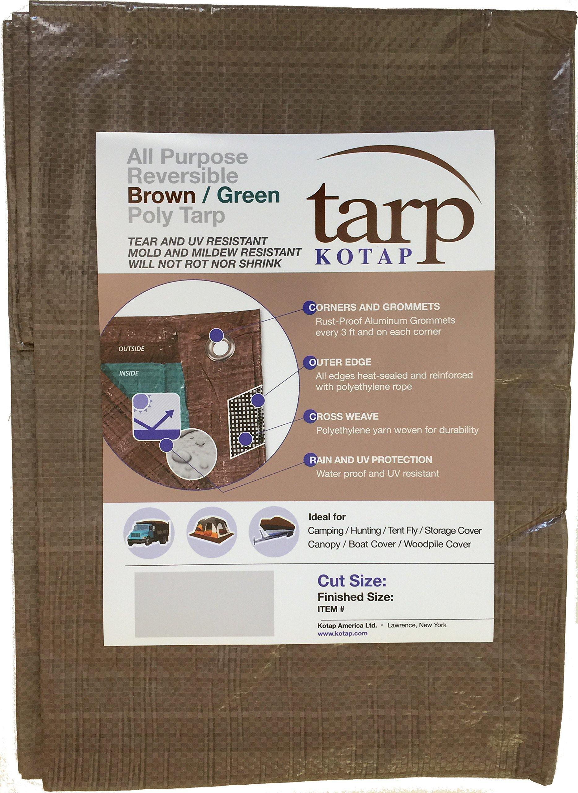 Kotap 12-ft x 20-ft Reversible Brown/Green Poly Tarp, Item: TBG-1220