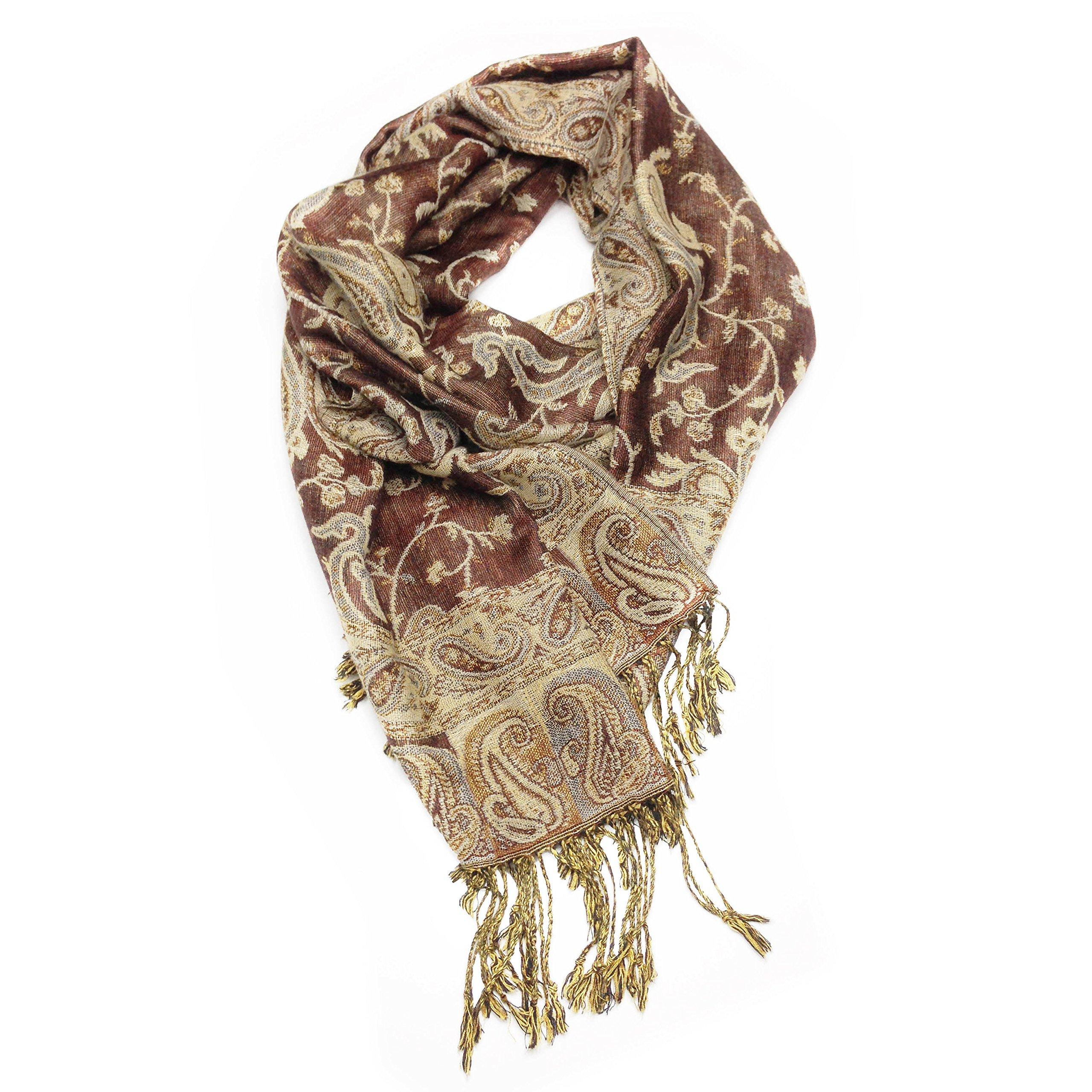 Paskmlna Reversible Paisley Pashmina Shawl Wrap Elegant Colors Brown 4
