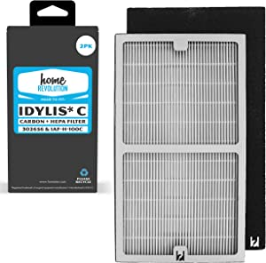 Home Revolution 2 HEPA + Carbon Replacement Filters, Fits Idylis IAP-10-200 and IAP-10-280 Air Purifiers and Type C Parts 302656 and IAF-H-100C