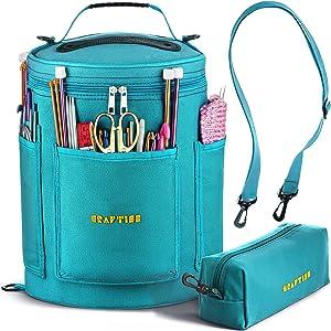 Knitting Bag Yarn Storage - Best Durable Canvas Yarn Bag - Yarn Organizer Crochet Bag with Knitting Accessories Case