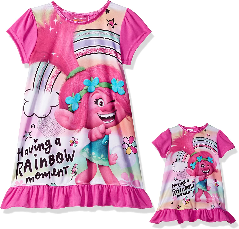 DREAMWORKS TROLLS Girls Trolls Nightgown with Matching Doll Gown