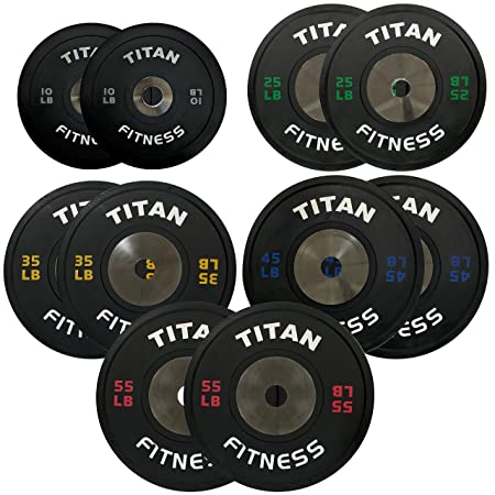 340 LB Set of Titan Elite Olympic Bumper Plates Black w Colored Lettering