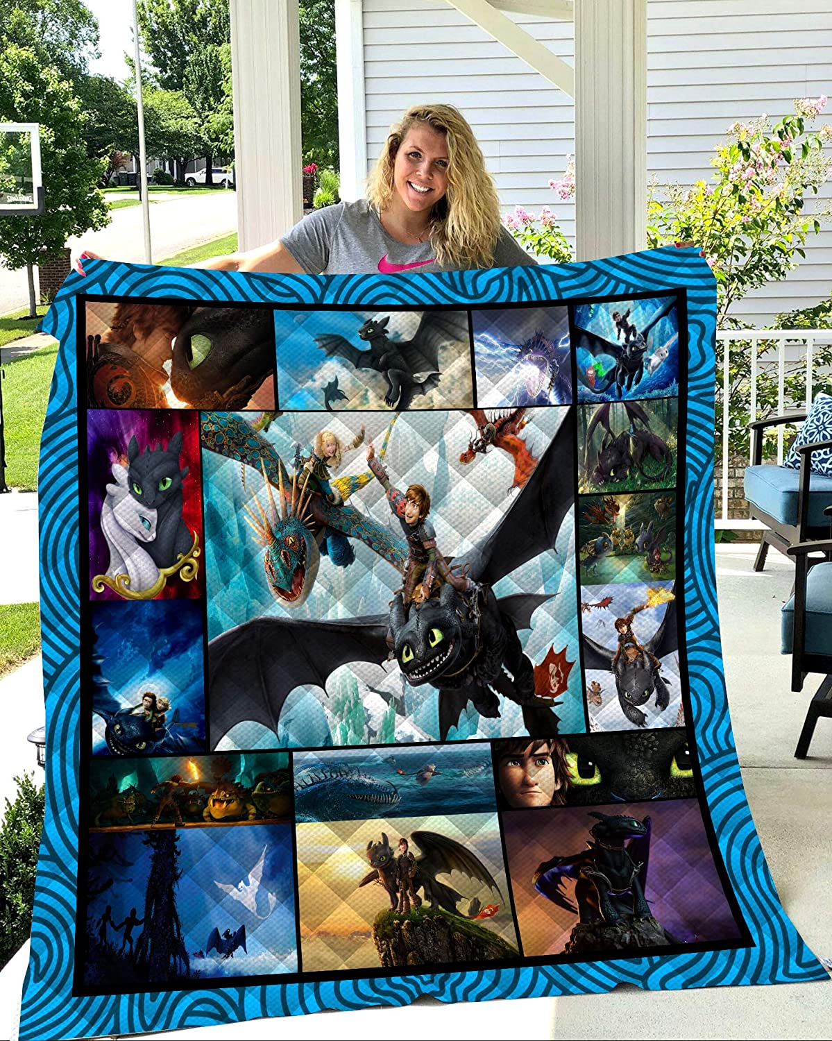 OWHO Summer 3D How to Train Your Dragon Quilt Blanket for Kids Adult Bedding Throw Warm Thin Blanket Cotton Quilt Queen King Size (Style 2,150cm200cm)