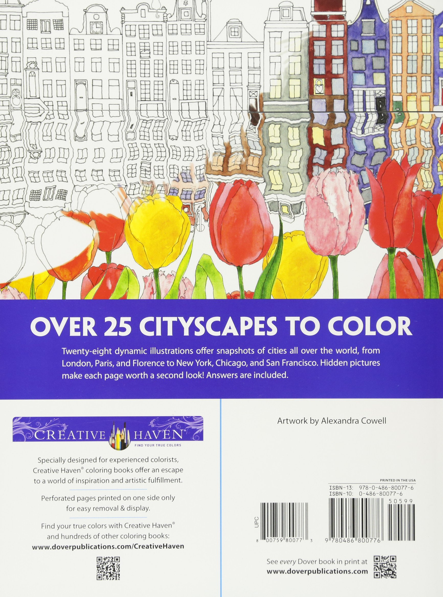 amazoncom creative haven cityscapes a coloring book with a hidden picture twist adult coloring 9780486800776 alexandra cowell books - True Colors Book