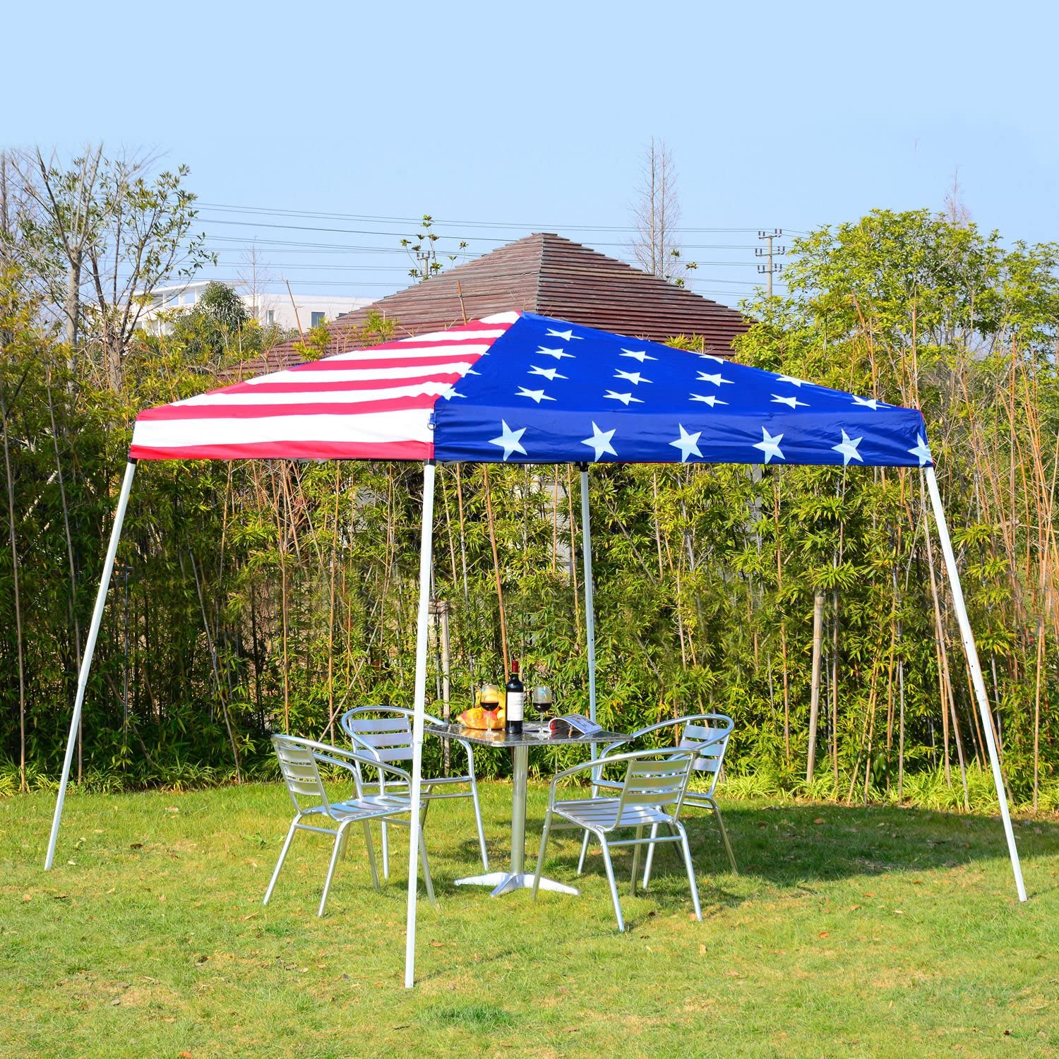 Outsunny – 10 x 10 Slant Pierna Pop-up toldo Refugio Carpa – American Flag: Amazon.es: Jardín
