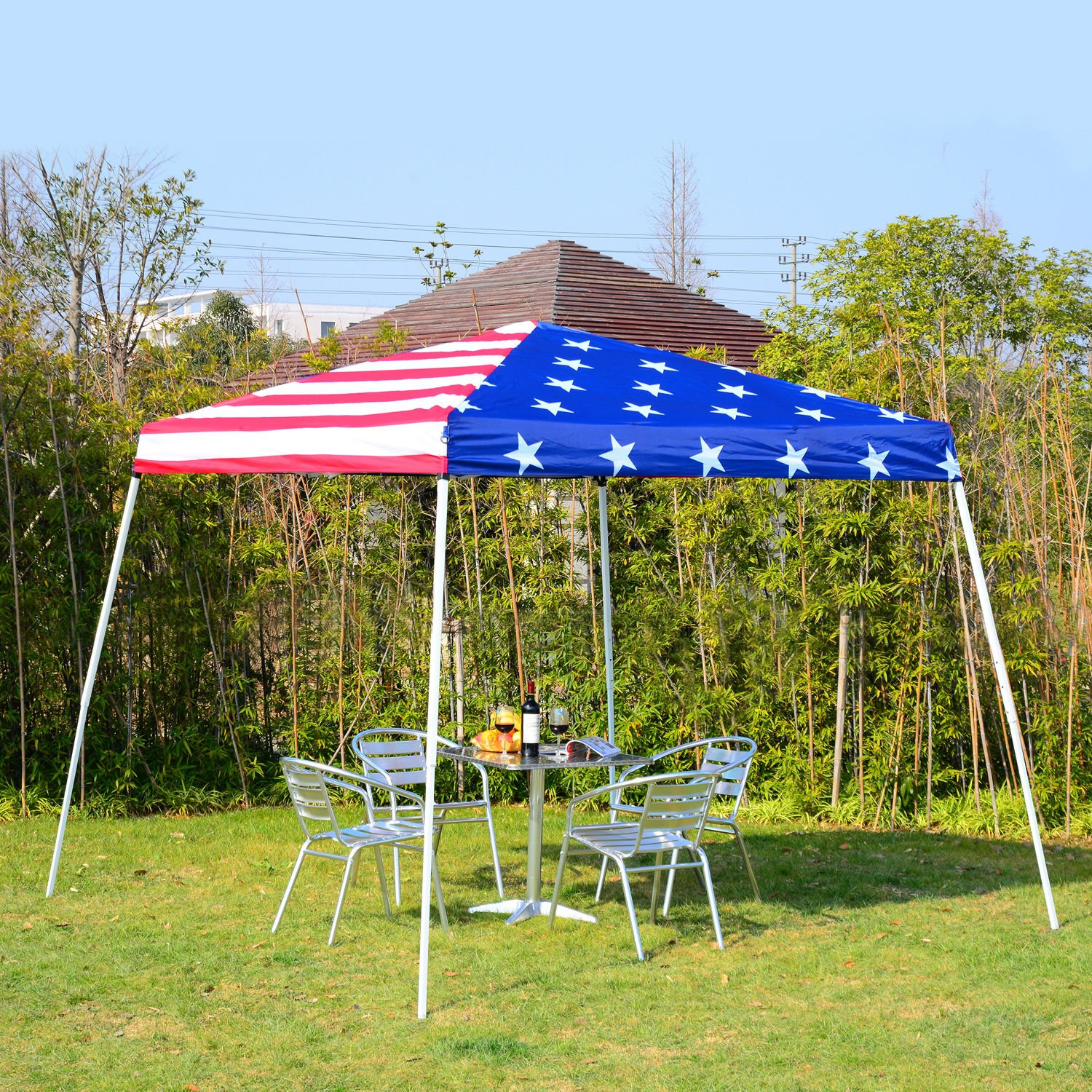 Outsunny 10 x 10 Slant Leg Pop-Up Canopy Shelter Party Tent American Flag