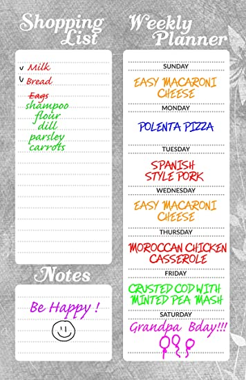 Amazon.com : Magnetic Dry Erase Shopping List 11X17, Weekly ...