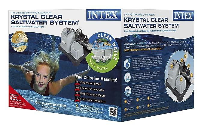 Intex 12 V Krystal Clear - Sistema de Agua Salada, Gris, 45.5 x 31 x 25.2 cm, 28670 GS: Amazon.es: Jardín