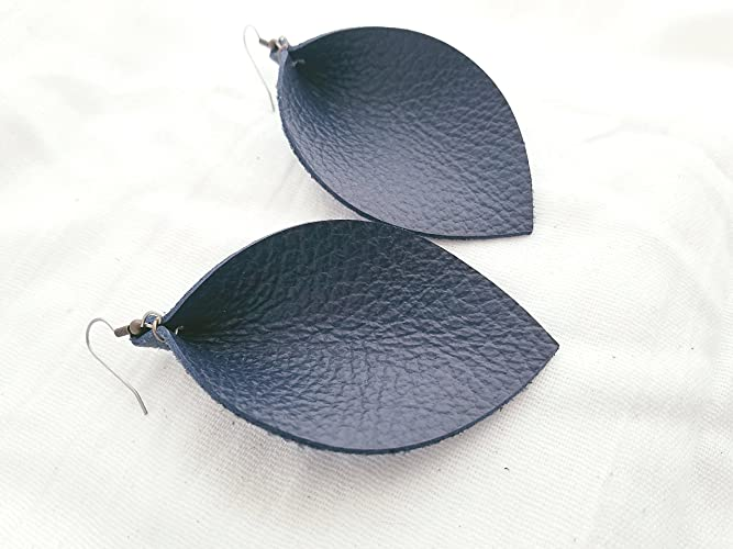 30ab6eacd2 Navy Blue/Leather Earrings/FREE SHIPPING/Joanna Gaines/Magnolia  Market/Statement/Leaf/X-Large/3.25