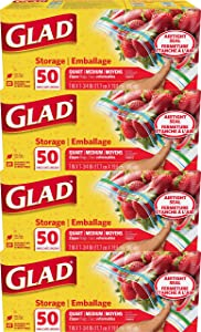 Glad® Zipper Food Storage Plastic Bags - Quart - 50 Count - 4 Pack (Package May Vary)