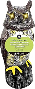 Ugold Solar Powered Owl Guardian, Motion Dectecting Sculpture with Glowing Eyes, Rotating Head and Sound, Decoration for Home and Garden