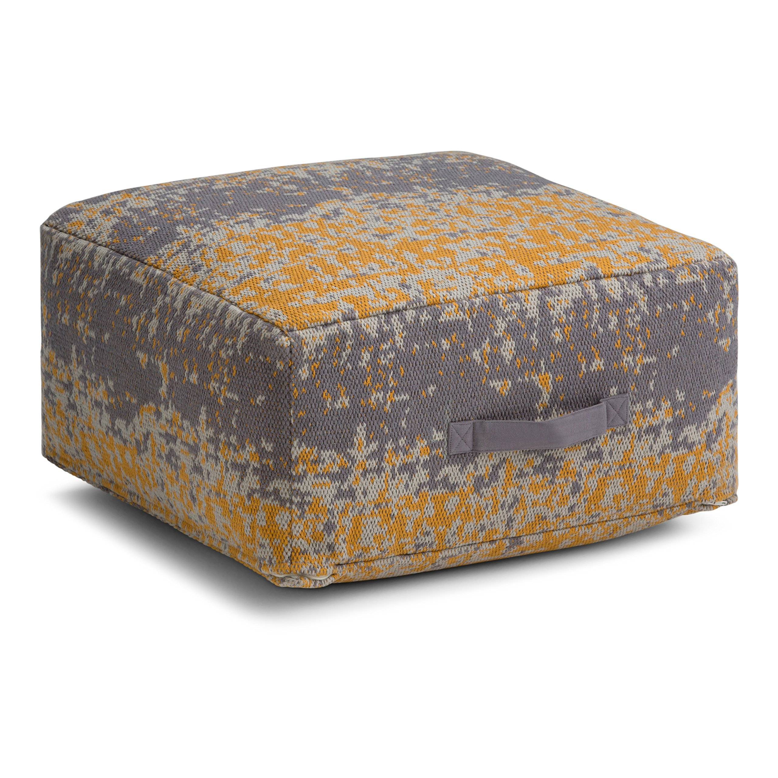 Simpli Home Tilley Square Pouf, Yellow and Grey