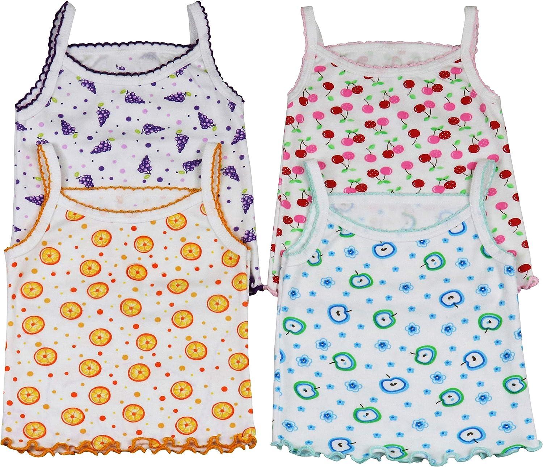 ToBeInStyle Girl's 4 Pack Ruffle Hem Spaghetti Strap Tank Tops