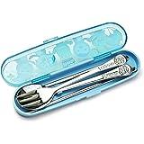 PORORO Stainless Steel Spoon, Fork, Chopsticks Hardcase Set- Blue