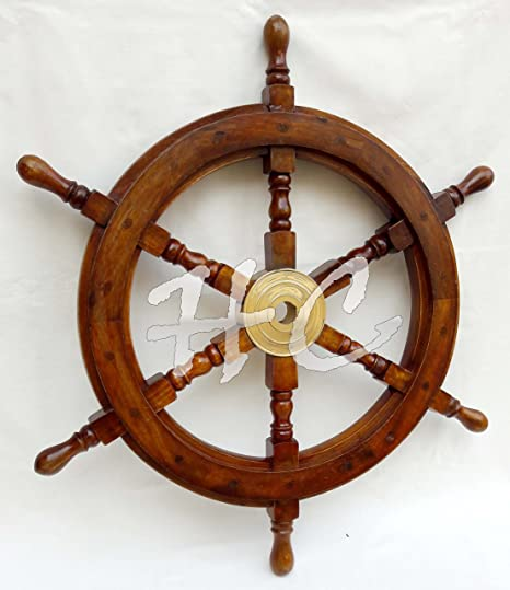 Wooden Ship Steering Wheel Pirate Decor Wood Brass Fishing Wall Nautical Boat