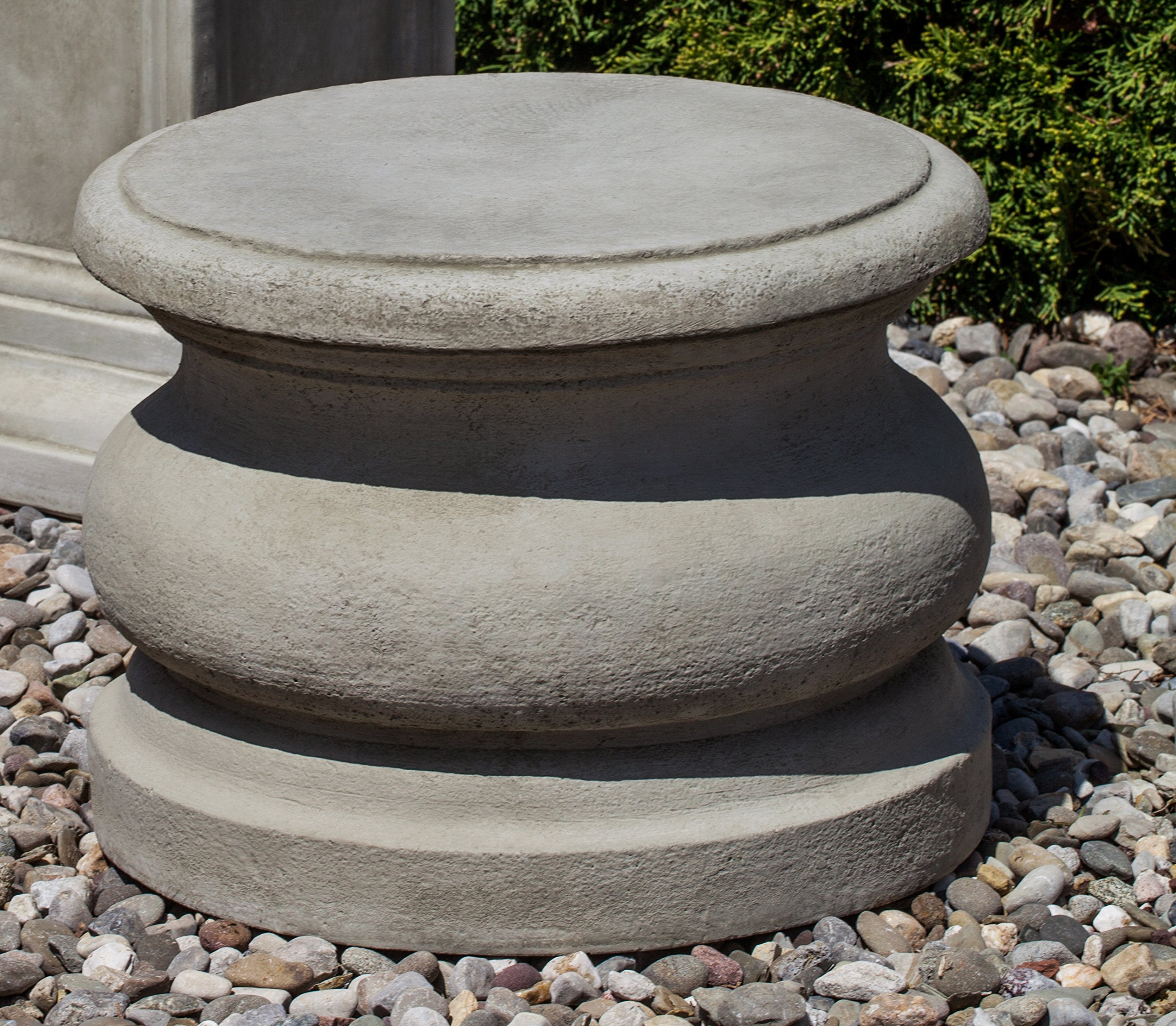 Campania International PD-78-GS Round Plain Pedestal, Low, Grey Stone Finish by Campania International