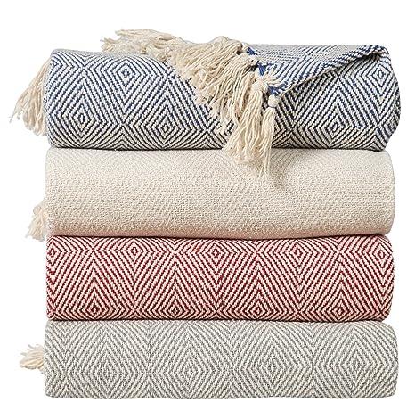 EHC - Manta para sofá (algodón, 125 x 150 cm), Color Gris ...