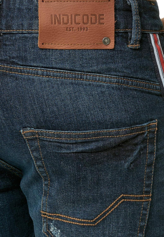 Indicode Homme Fife Short en Jean avec 5 Poches 98//% Coton Court Denim Stretch /ét/é Pantalon Used Look Washed Destroyed Regular Fit Men Pants De Loisirs pour Homme