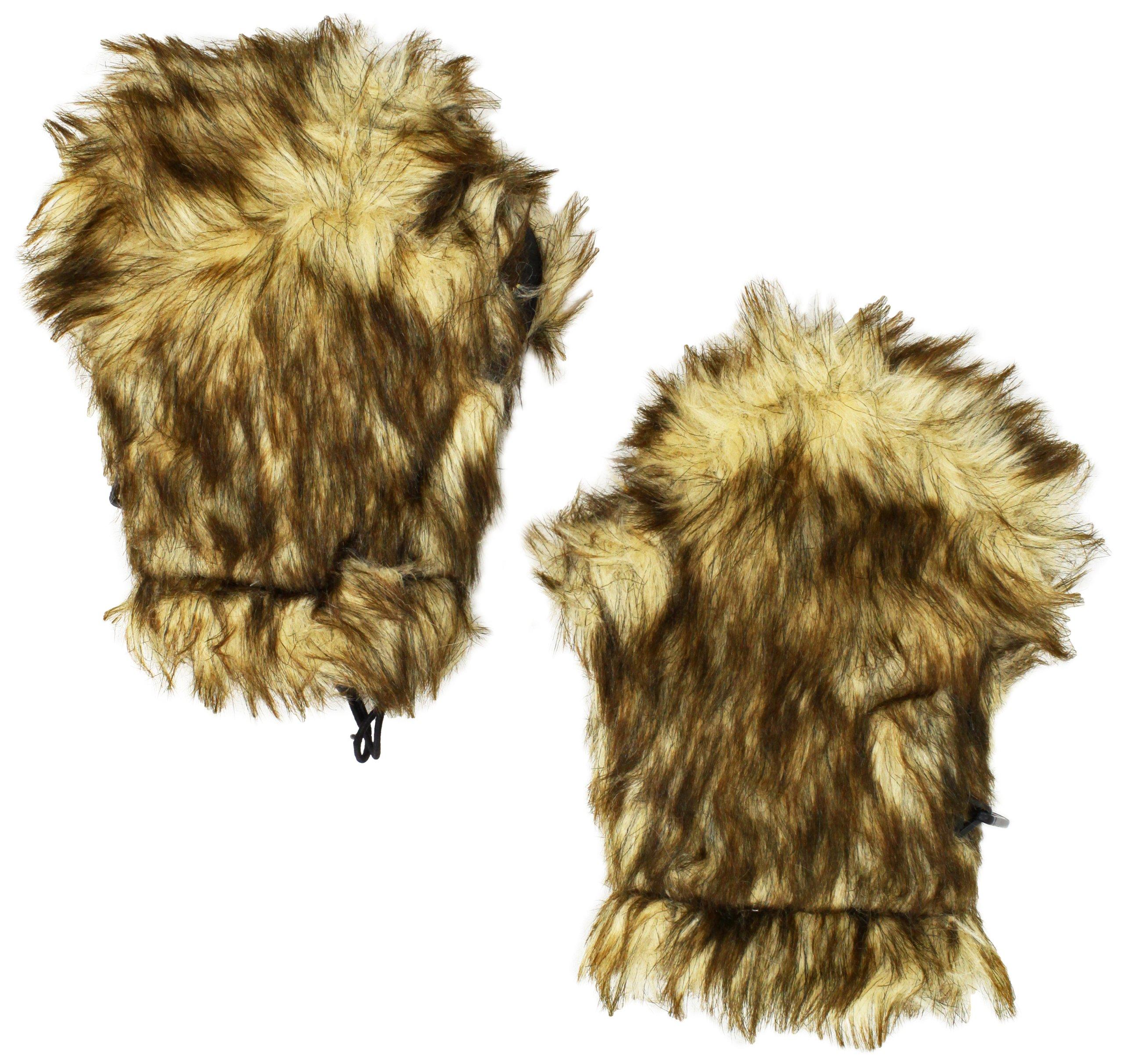 BearHands Little Girls'  Youth Faux Fur Mittens, Beige, 3-7 Years