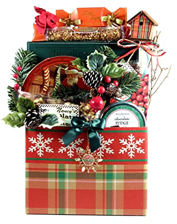 A Traditional Christmas Holiday Gift Basket For Family And Friends