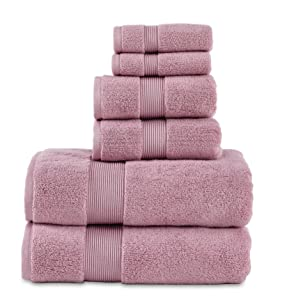 "700 GSM 6 Piece Towels Set, 100% Cotton, Zero Twist, Premium Hotel & Spa Quality, Highly Absorbent, 2 Bath Towels 30"" x 54"", 2 Hand Towel 16"" x 28"" and 2 Wash Cloth 12"" x 12"". Mauve Color"