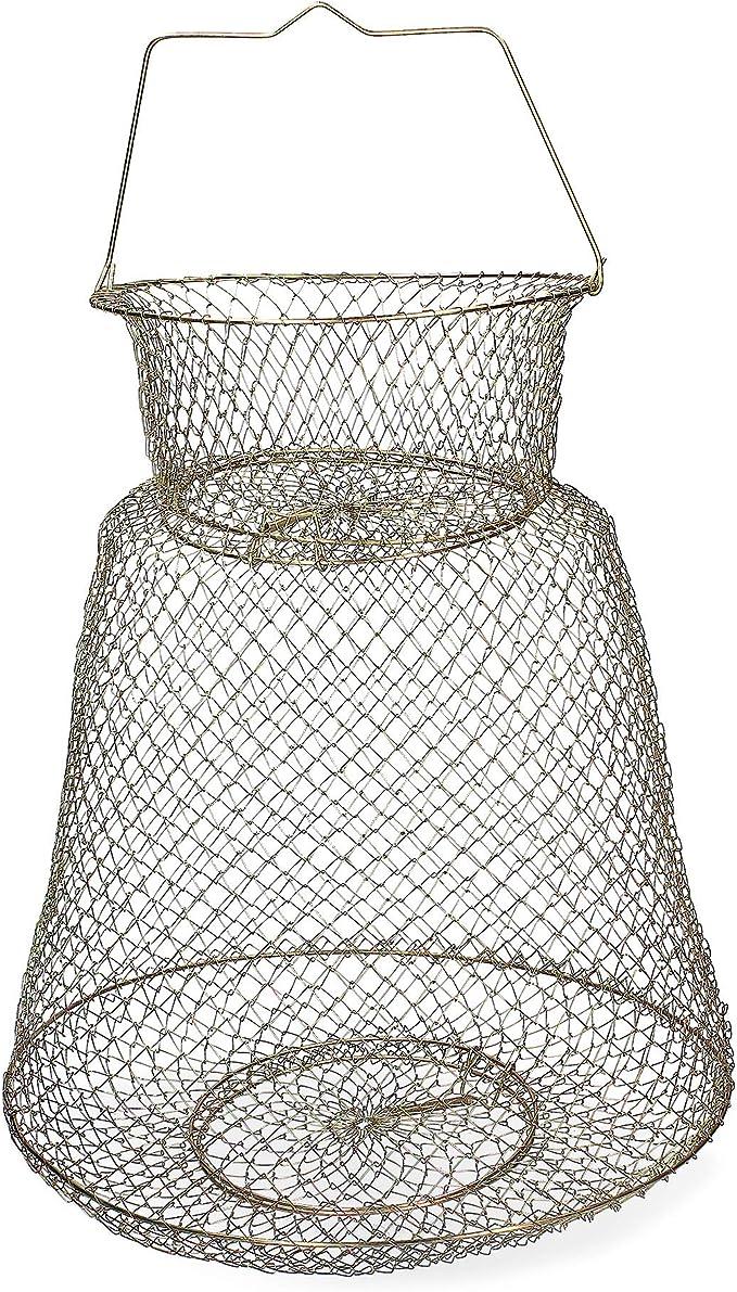 BESPORTBLE Setzkescher Angeln Fishing Drahtkescher Draht-Korb Metall Fischreuse Fischernetz mit Federdeckel Zubeh/ör K/öder Krabbenfalle Reusen Fischfalle 44 x 25 cm